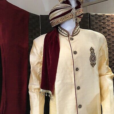 3pcs Set Mens Wedding Sherwani Suit Groom Asian Gold / Maroon Red Size Large