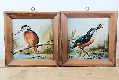 Rare Antique c1880 Hand Painted Kingfisher Minton & Hollins Tiles Birds EW B
