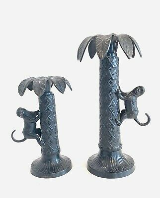 "Set of 2 Bombay Company Candlesticks Monkey Palm Tree Dark Brass Pair 7"" And 10"""