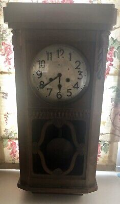 Vintage Old Wood Wall Clock Rare Collectable With Key
