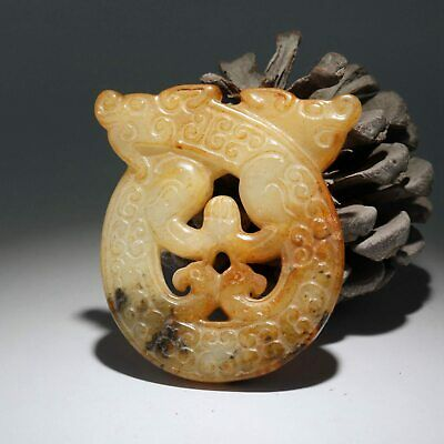 Collectable China Old Jade Hand-Carved Myth Dragon Moral Exorcism Decor Pendant