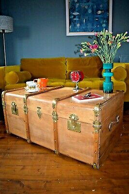 Stunning Large French Vintage Steamer Trunk Chest Wood Bentwood Coffee Table