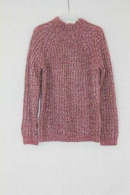 M&S Kids Girls Pink lilac White Chunky Knitted High Neck Jumper age 10-11 Years