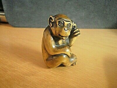 Hand Carved wood netsuke Monkey finger in ear boxwood collectable ape figure