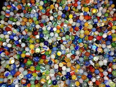 Large Lot of Vintage Antique Marbles /Glass 10lbs+ large variety of types & size