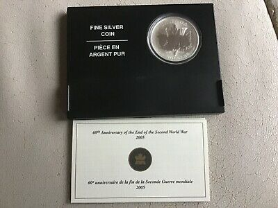 2005 Canada 5 Dollars 1oz Pure Silver Coin 60th Anniversary End Of WW2 Mint Unc