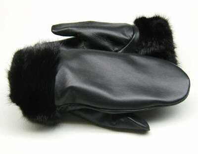new handmade Real Mink fur -Genuine Nappa leather winter gloves mittens M