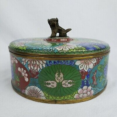 Antique Chinese Cloisonné Spice Dish Herb Container Round Box Foo Dog Dragon