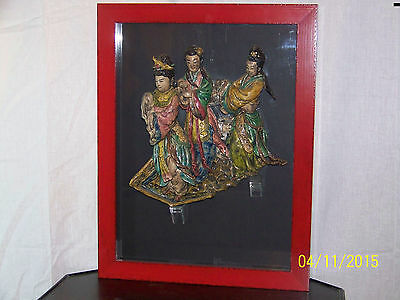 """Antique Chinese """"The 3 Guanyins"""" c1800's  Hand Made Roof Tile Framed"""