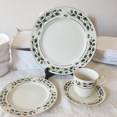 Lot 40: Fine China Dinner, Salad, Plate Cup/Saucer Christmas Holly Berry Dishes