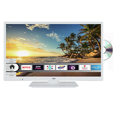 Bush 24 Inch Smart HD Ready TV / DVD Combi LED White ELED24HDSDVDW WiFi Built In