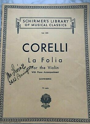 Vintage Violin Sheet Music Schirmer's Library Vol 525 CORELLI La Folia 1939