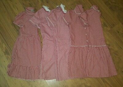 Bundle of 5 Red/White Gingham school summer dresses age 7 years