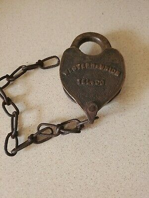 Great 1890's Western Union Telegraph Co. Brass Padlock with Great Patina no key