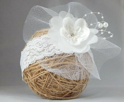White flower fascinator for wedding wide girl's headband Handmade by Fairy Dust