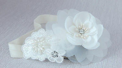 Baby ivory chiffon flower with lace for Baptism Christening Wedding Handmade UK