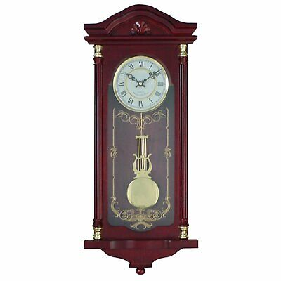 Grandfather Wood Wall Clock Westminster Chime Movement Antique Cherry Red Tone
