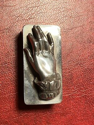 Vintage Hallmarked Silver Novelty Hand Snuff - Pill - Trinket Pot / Box