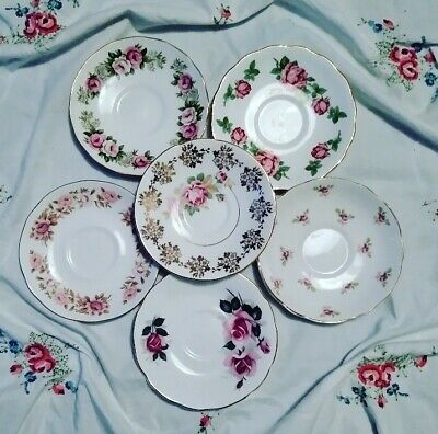 🌷🌷 Set of 6 Pretty Floral mismatched Vintage English Bone China Saucers 🌷 S1