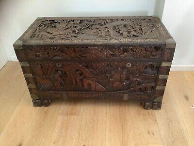 Chinese chest Large Antique hand carved hardwood and camphor wood