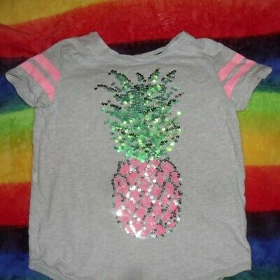 Girls Grey T-Shirt With Sequin Pineapple On The Front Age 7-8 Yrs ,F+F Used
