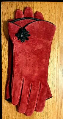 Vintage Red Suede Gloves from France 1970s Medium