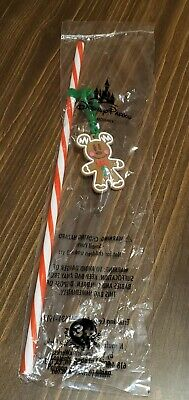 Disney Parks 2019 Christmas Holiday Gingerbread Mickey Straw NEW  FREE SHIPPING