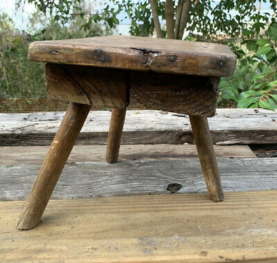 Antique Three Legged Milking Stool Wood NICE