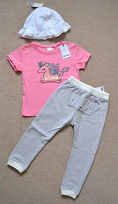 BNWT Next Girls 2-3 Years Grey Bunny Joggers, Unicorn T-shirt Summer Hat Outfit