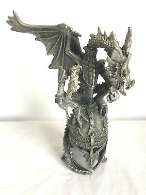 Dragon Pewter Statue Fantasy Gothic Figurine Knight Armour