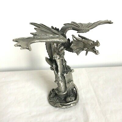 Dragon Pewter Statue Fantasy Gothic Figurine Castle