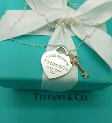"""Return to Tiffany & Co Sterling Silver Heart tag and Rubedo Key 16"""" Necklace"""