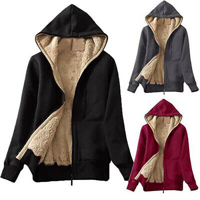 Women Warm Fleece Hoodies Faux Sweatshirt Winter Zip Up Hooded Coat Jacket Cl FR