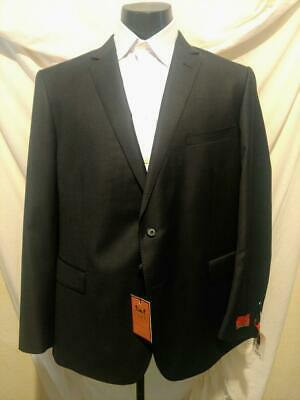 $895 BNWT ENZO Tovare Solid Dark Gray Sup 150's Wool Trim 2 Button Suit  46(56)R