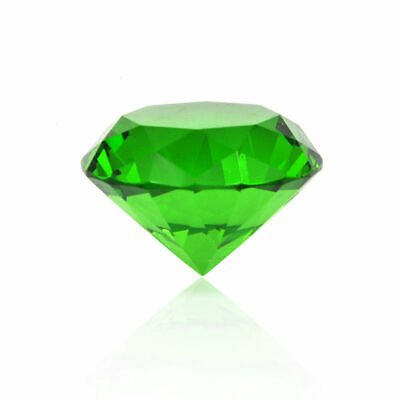 GREEN CRYSTAL CLEAR PAPERWEIGHT CUT GLASS GIANT DIAMOND DECOR 80mm