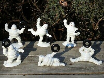 CAST IRON MICHELIN MAN  ADVERTISING PROMOTION PAPERWEIGHT FIGURINE FULL SET OF 6