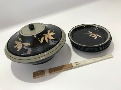 Japanese Wooden Bowl Vtg Dish Plate Lacquer Ware Lidded Bamboo Chopstic g471