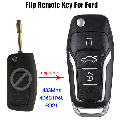 For Ford Focus Fiesta Transit Fiesta Remote Flip Key Fob 4D60 ID60 CHIP 433mhz