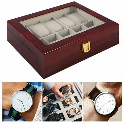 Grids Watch Box Jewelry Storatge Holder Display Case Wrist Watches Gift 6 10 20#