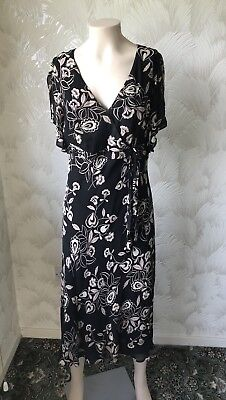 Size 14 True Vintage 1980S Debenhams Chiffon Floral Print On Black Bias Cut Midi