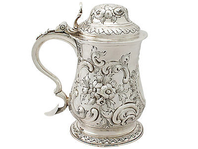 Antique George III Sterling Silver Quart Tankard by William Grundy