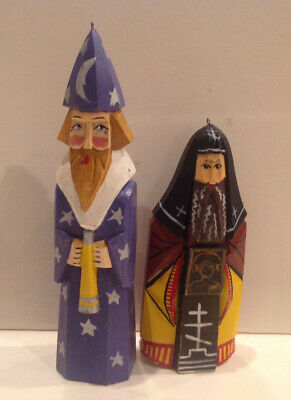 2 Vintage Hand Carved Wood Painted Russian Christmas Ornament Priest &Stargazer