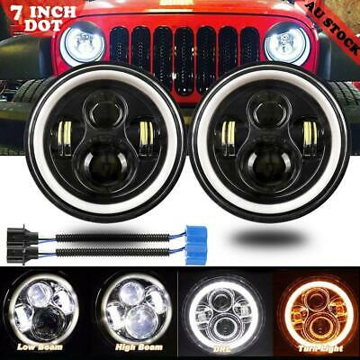 7inch 200W DOT Round LED Headlights For Jeep Wrangler TJ JK 97-17 Halo Angel Eye