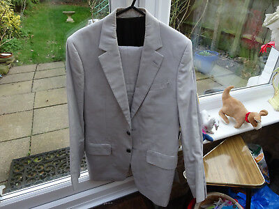 Aquascutum Mens Light Grey Cotton Suit Size 38R - Worn Only 3 Times