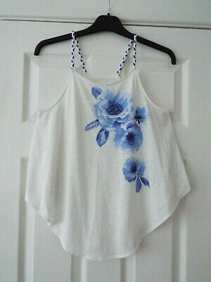 Girl's H&M Strappy Cream Top with Large Blue Floral Design Age 10-12 Years VGC