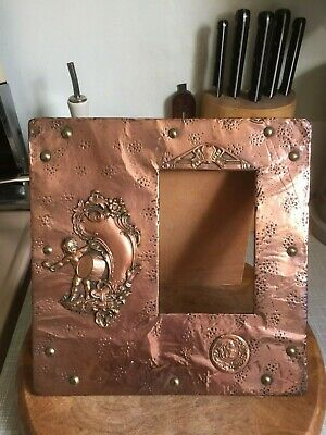 Antique Arts And Crafts Copper Picture Frame