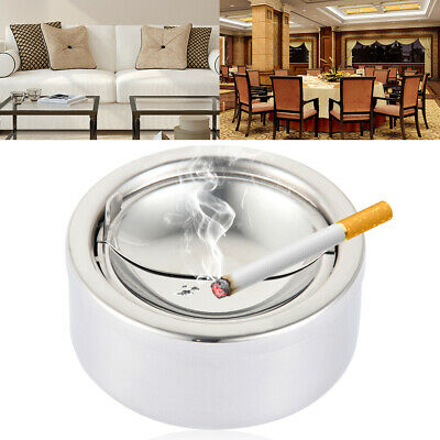 Stainless steel creative windproof round ashtray with cigarette holder