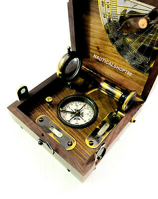 Nautical Maritime Brass Wooden Marine Box Compass Telescope & Magnifying Glass,