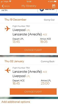 Liverpool To Lanzarote Flight Tickets x2 Christmas 2019
