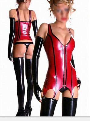 Latex Rubber Suit Sling Vest&Pants Gummi Catsuit Sexy Red&Schwarz Bodysuit S-XXL